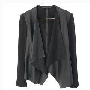 Zara faux leather jacket with sheer sleeves